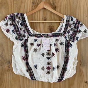 Free People Tops - NWT Free People Aurura Embroidered Square-Neck Top